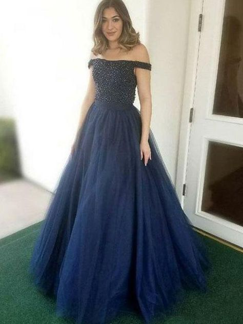 c1cc47dbb3c Off Shoulder Long A-line Navy Tulle Beaded Prom Dresses