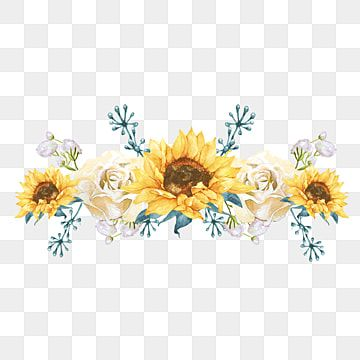 Rose Flower Sunflower Border Hand Drawn Watercolor Illustration Element Watercolor Clipart Sunflower Rose Flower Png Transparent Clipart Image And Psd File F Sunflower Illustration Rose Illustration Watercolor Flowers