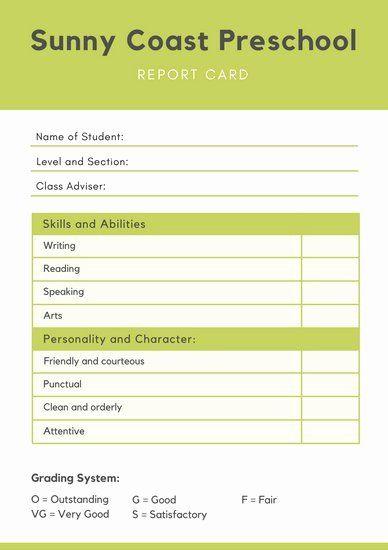Preschool Report Card Template Elegant Report Templates Canva In 2020 School Report Card Report Card Template Kindergarten Report Cards