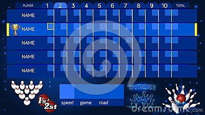 Bowling Score Sheet Template Tv Size Banner Vector Clip Art