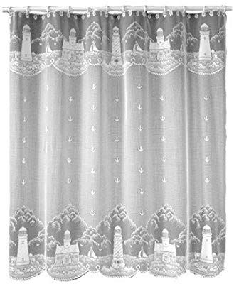 Heritage Lace Lighthouse 72 Inch By 72 Inch Shower Curtain White