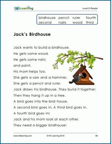 Jack S Birdhouse Level D Children S Story K5 Learning Reading Comprehension Worksheets Free Reading Comprehension Worksheets Reading Comprehension