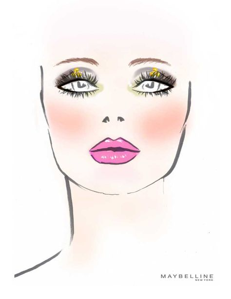 Charlotte Willer's makeup sketch for the Betsey Johnson show.