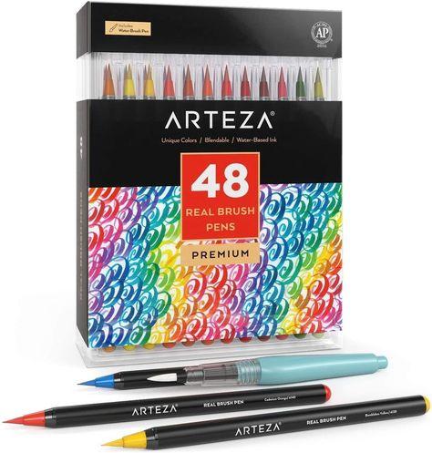 Real Brush Pens - Set of 48 | ARTEZA
