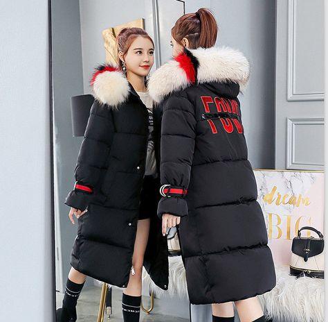 New Women S Winter Hooded Cotton Padded Jacket Warm Long Parka Fur