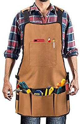 delantal de herramientas ajustable hasta XXL Delantal de trabajo de lona encerada para hombres y mujeres con bolsillo y correas acolchadas hebilla de liberaci/ón r/ápida Woodworking Shop