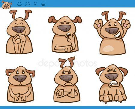 Las Emociones Del Perro De Dibujos Animados Ilustracion Conjunto