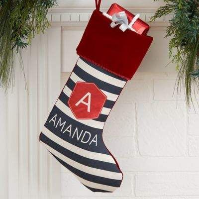 Bed Bath Beyond Modern Stripe Personalized Christmas Stocking In