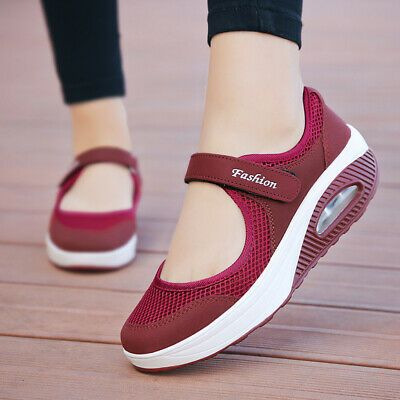 Womens Gym sport Wedge shoes Trainer Platform Athletic Sneakers Loafes Shoes