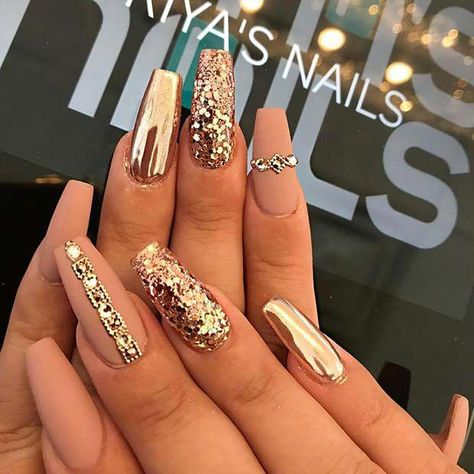 Matte and Gold Coffin Nails #nails