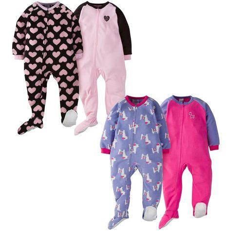 8ea65c76fe6f 4-Pack Toddler Girl Hearts   Llama Blanket Sleepers