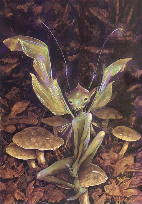 Brian Froud- I love his fairy artwork! My mom had his books and I poured over them when I was younger. Brian Froud, Woodland Creatures, Magical Creatures, Fantasy Creatures, Fantasy World, Fantasy Art, Arte Elemental, Kobold, Nature Spirits