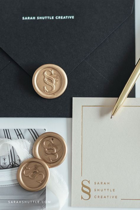 Luxury branding with gold and black print materials | gold wax seal on black envelopes | view more premium brand design stationery | wax seal branding | wax stamp logo | foil logo design | wax stamp branding | modern luxury logo design | elite brand | luxury brand design gold | elegant branding design visual identity | luxury brand design business | print materials branding | stationery branding design #luxurybranding #luxurybrand #waxstamp