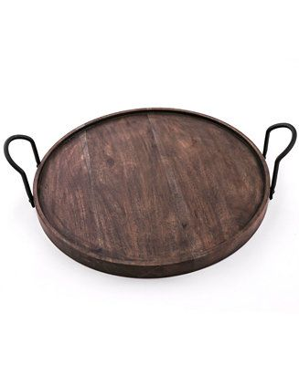Shop Thirstystone Round Wood Tray With Black Metal Handles Online At Macys Com A Party Perfect Serving Accessory Thirstystone S Round Wood Tray Round Wood Tray