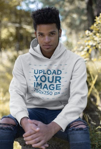 Download Placeit Mockup Featuring A Man With A Sly Smile Wearing A Pullover Hoodie Hoodies Pullover Hoodie Hoodie Mockup