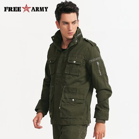 7921c5b0fff Army Coat Military Jacket Men European Style Metal Zipper Mens Coat ...