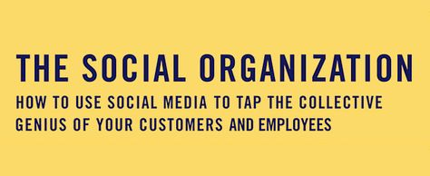 The Social Organization. How to use social media to tap the collective genius of your customers and employees.