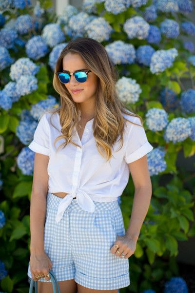 Blue Shorts - Fresh Gingham Outfit Ideas Perfect for Summer - Photos