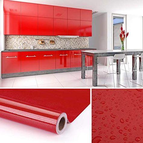 Kinlo 5 0 61m Papier Peint Auto Adhesif Rouge Armoire De Cuisine