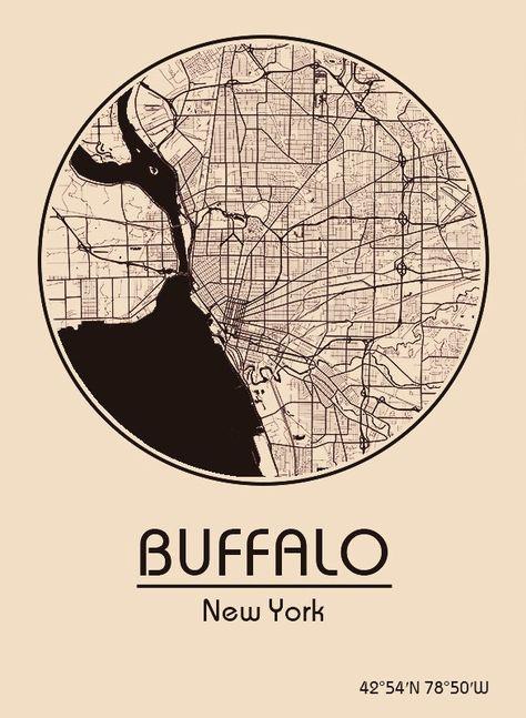 Karte Map Buffalo New York Vereinigte Staaten Von Amerika
