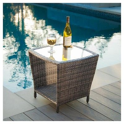 Weston Wicker With Glass Top Patio Side Table Gray Christopher Knight Home Wicker Side Table Outdoor Side Table Outdoor Wicker