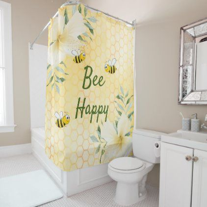Bee Happy Bumble Bees Yellow Honeycomb Sweet Cute Shower Curtain