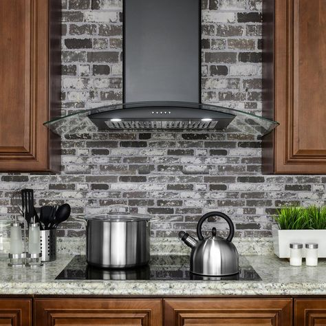 Shop for AKDY Black Finish Stainless Steel Wall Mount Range Hood with Push Button Controls. Get free delivery On EVERYTHING* Overstock - Your Online Home Improvement Shop! Kitchen Vent Hood, Kitchen Exhaust, Kitchen Stove, Kitchen Backsplash, Kitchen Cabinets, Countertop Decor, Kitchen Walls, Backsplash Ideas, Kitchen Countertops