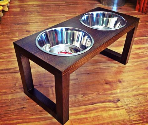 2 Quart 12 Inch Height Double Bowl Pet Feeder    Stained the Color of Your Choice(Dark Walnut Stain shown above)- please refer to the color chart for