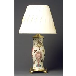 coral and seashells decoupage lamp