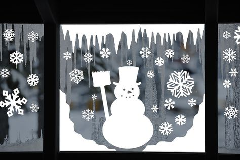 Snowman Window Decal Clings - Reusable Snowman Window Clings - Winter Window Stickers - Christmas Decals - WC-1017 by VinylDzines on Etsy