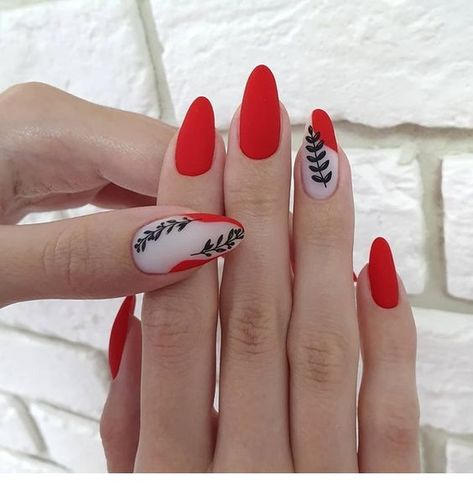 Nice matte red nails with black details - StepUpLadies.net
