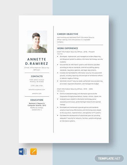 Chief Information Officer Resume Luxury Chief Information Security Ficer Resume Template Word In 2020 Resume Template Word Resume Resume Template