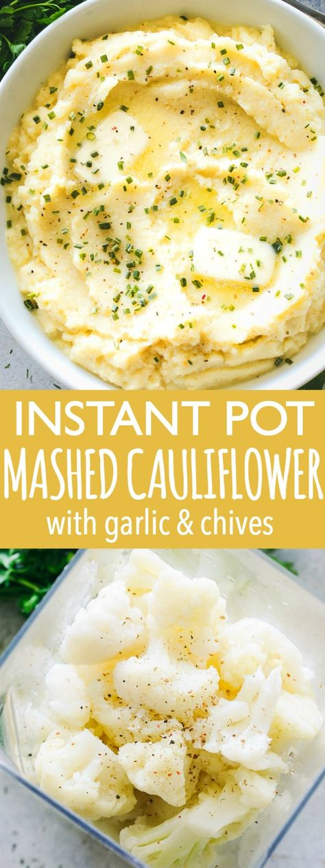 Instant Pot Mashed Cauliflower with Garlic and Chives - Creamy, buttery mashed cauliflower combined with plenty of garlic and chives makes for one super flavorful side dish! Mashed cauliflower is the perfect low carb alternative to mashed potatoes, and made in a fraction of the time, thanks to our Instant Pot. #instantpot #keto #mashedcauliflower #cauliflowermashedpotatoes #sidedish #thanksgivingrecipes #thanksgiving #lowcarb #garlic #chives via @diethood