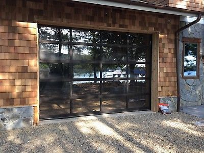 Full View 10x 8 Dark Bronze Aluminum Tempered Clear Glass Garage Door
