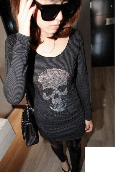 Trendy Sequins Skull Stripes slim Long Blouse