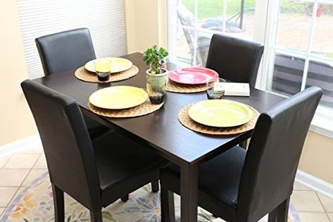 37ab1fb507d 5 PC Black Leather 4 Person Table and Chairs Brown Dining Dinette - Black Parson  Chair