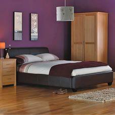 df19eeafb4f5 Wilkinson Plus Paris Bed Faux Leather Brown Double Double brown faux  leather bed low lying to