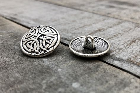 5 Celtic Knot Symbol Metal Buttons for clothing, crafting, jewelry