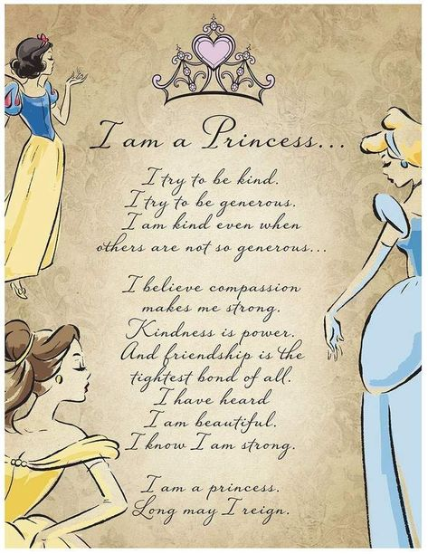 Artissimo Disney Princess I Am A Princess Glitter Canvas Wall Art