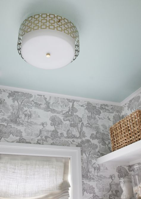 Ceiling painted with Sherwin Williams Breaktime.  Fantastic ceiling color and stunning mixed with the toile wallpaper.