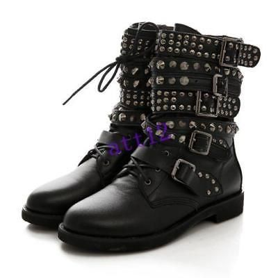 AU Women Low Heel Ankle Boots Combat Military Leather Lace Up Motor Shoes