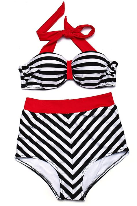 GK021# Striped Push Up Bandeau Halter High Waist Bikini Set