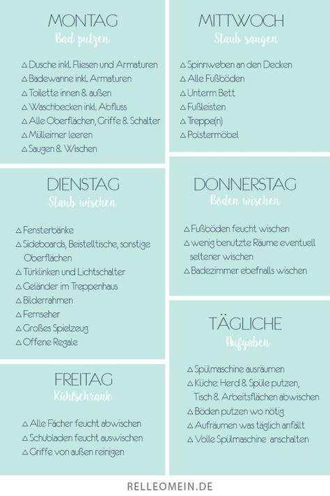 Putzplan Mein Wochentlicher Plan Fur Ein Sauberes Zuhause Relleomein Wochentlicher Putzplan Putzplan Reinigungsplan
