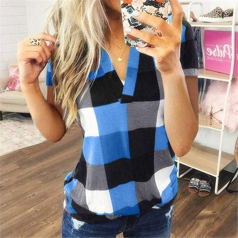 Fashion Plaid Cotton tshirt Casual Sexy V-Neck Tunic Tops - Sky Blue / XL / China