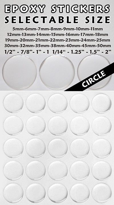 Circle Domes Dots Seals FREE SHIPPING 11mm Round Clear Epoxy Stickers