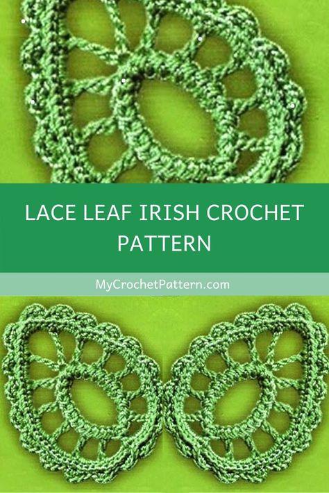 Crochet Leaf Free Pattern, Irish Crochet Patterns, Crochet Leaves, Lace Patterns, Crochet Motif, Irish Crochet Tutorial, Crochet Flowers, Freeform Crochet, Knit Or Crochet