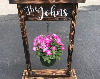 Items Similar To Wooden Plant Stand Hanging Basket Stand Outdoor Decor Plant Stand Wood Pla Hanging Basket Stand Hanging Flower Baskets Hanging Baskets