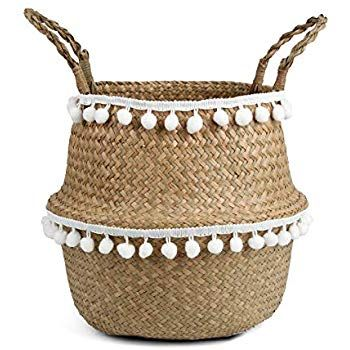 Amazonsmile Bluemake Small Ball Macrame Woven Seagrass Belly Basket For Storage Decoration Laundry Picn Belly Basket Seagrass Belly Basket Plant Pot Covers
