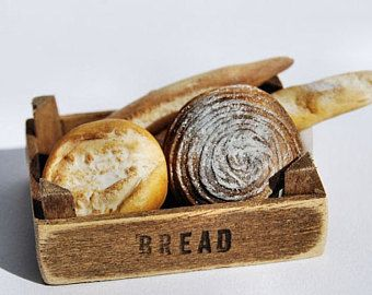 Dollhouse Miniature vintage Fresh Baked Bread  wood sign 1:12 Bakery Accessories