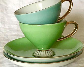 Vintage Westminster 333 China Australia Two Teacup Tea Cup Duo 1950s 50s Teaset Aqua Eau De Nil Celedon Gold Rim Pretty Vintage Tea Cups Vintage Tableware Tea
